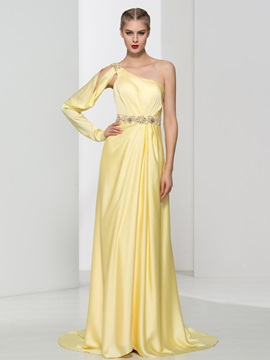 Graceful One Shoulder Long Sleeve Crystal Long Evening Dress & Designer Dresses 2012