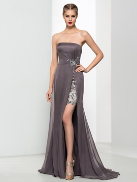 Strapless Sequins Split-Front Column Evening Dress & affordable Designer Dresses