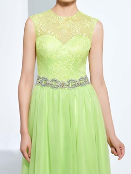 Beading Button Lace Prom Dress