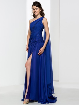 One Shoulder Appliques Sequins Pleats Split Front Evening Dress