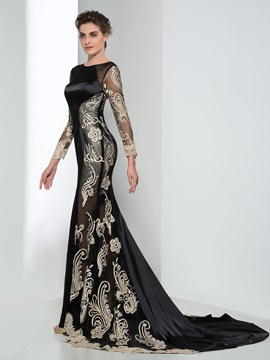 Classy Long Sleeves Appliques Lace-up Mermaid Evening Dress