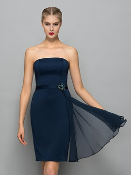 Casual Strapless Beading Column Cocktail Dress & Designer Dresses for less