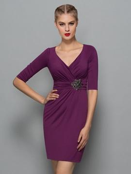 Elegant V-Neck Half Sleeve Beading Sheath Formal Dress