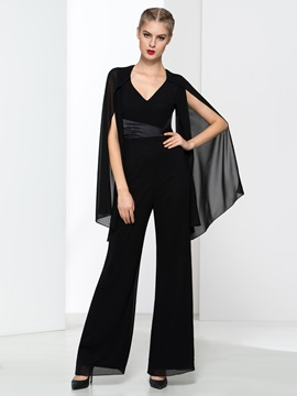 Modern V-Neck Backless Black Jumpsuits