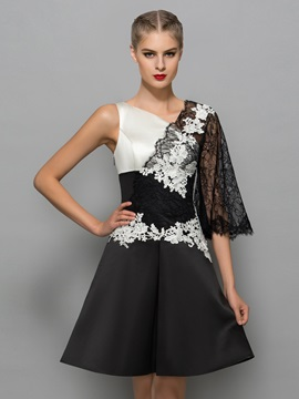Modern V-Neck Appliques Black Lace Cocktail Dress & attractive Designer Dresses
