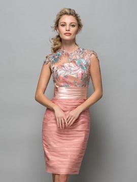 Column Cap Sleeve Appliques Pleats Cocktail Dress & Designer Dresses under 500