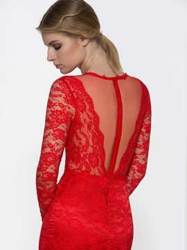 Long Sleeves Lace Mermaid Red Evening Dress