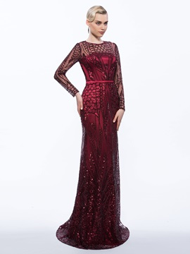 Amazing Sequins Sheath Long Sleeves Evening Dress