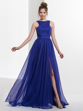 Casual Straps Pleats Split-Front Long Prom Dress & simple Designer Dresses