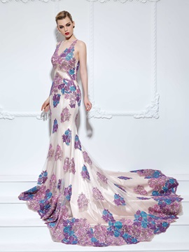 Glamorous V-Neck Appliques Mermaid Evening Dress & Designer Dresses for sale