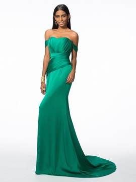 Off the Shoulder Pleats Long Evening Dress & Designer Dresses under 100