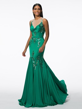 Straps Sequins Long Mermaid Evening Dress