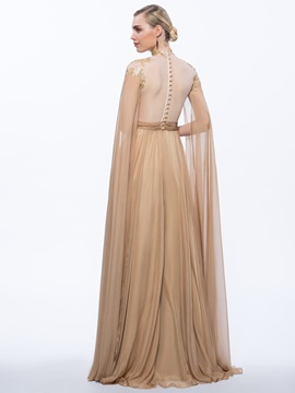 Vintage A-Line High Neck Sequins Long Evening Dress
