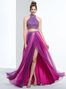 Amazing Halter Beading Button Two Piece Prom Dress & Designer Dresses 2012