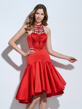 Chic Halter Beading Ruffles Red Cocktail Dress & romantic Designer Dresses