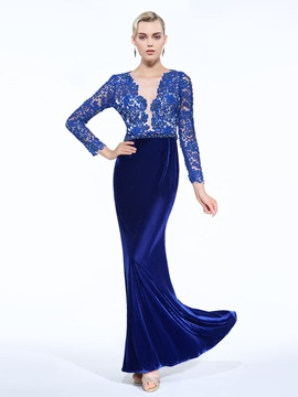 V-Neck Long Sleeve Beading Lace Evening Dress & Designer Dresses on sale