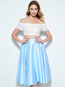 Off the Shoulder Short Sleeves Lace Two Piece Homecoming Dress & attractive Designer Dresses