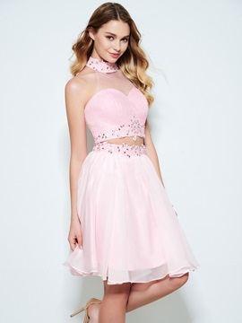 Appliques Beading Sequins Two Piece Homecoming Dress & colored Designer Dresses