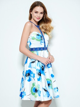 Modern Halter Beaded Backless Print Homecoming Dress
