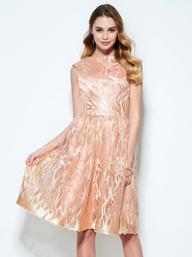 Bateau Neck A-Line Knee-Length Lace Homecoming Dress