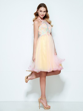 Halter Appliques A-Line Backless Short Homecoming Dress