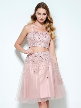 Spaghetti Straps Beading Sequins Two Piece Homecoming Dress & Designer Dresses for sale