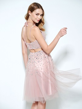 Spaghetti Straps Beading Sequins Two Piece Homecoming Dress