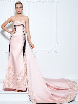 Luxurious Straps Embroidery Appliques Trumpet Evening Dress & affordable Designer Dresses
