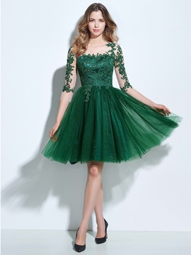 3/4 Length Sleeves Appliques Button Homecoming Dress