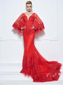 Graceful V-Neck Sleeves Appliques Mermaid Evening Dress