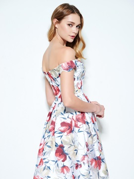 Pretty Off the Shoulder Short Print Homecoming Dress