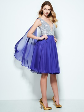 V-Neck Beading Sequins Knee-Length Homecoming Dress
