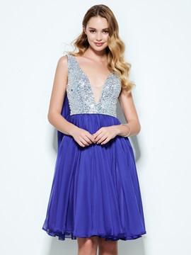 V-Neck Beading Sequins Knee-Length Homecoming Dress & Designer Dresses under 500