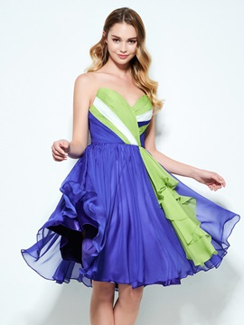 Color Block Sweetheart Pleats Knee-Length Homecoming Dress & attractive Designer Dresses