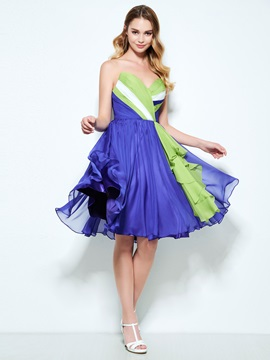 Color Block Sweetheart Pleats Knee-Length Homecoming Dress