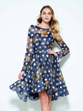 Long Sleeves Backless Knee-Length Print Homecoming Dress