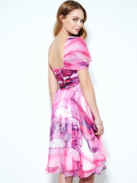 Modern One Shoulder Pleats Print Homecoming Dress