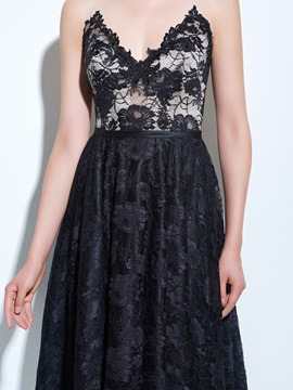 V-Neck A-Line Backless High Low Black Lace Cocktail Dress