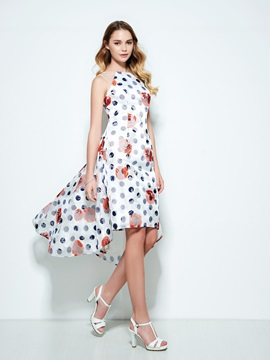 Amazing Straps High Low Print Homecoming Dress & attractive Designer Dresses