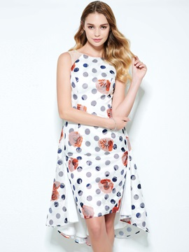 Amazing Straps High Low Print Homecoming Dress