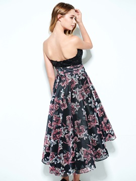 Strapless Sequins A-Line High Low Print Homecoming Dress