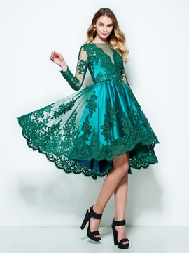 Long Sleeves Appliques High Low Homecoming Dress
