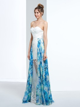 A-Line Sweetheart Appliques Printed Prom Dress