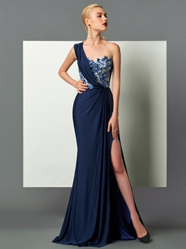 Elegant Sheath One-Shoulder Draped Sequins Split-Front Sweep Train Evening Dress