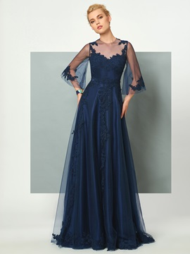 Fancy Jewel A-Line 3/4 Length Sleeves Appliques Floor-Length Evening Dress & simple Designer Dresses