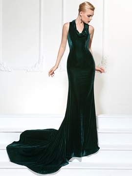 Gorgeous Mermaid Halter Velvet Court Train Evening Dress & attractive Designer Dresses