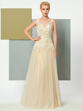 Charming A-Line V-Neck Appliques Lace Floor-Length Evening Dress & affordable Designer Dresses