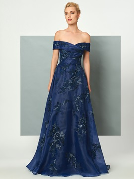 Popular A-Line Off-the-Shoulder Appliques Lace Sequins Sweep Train Evening Dress & Designer Dresses for less