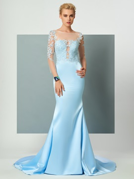 CharmingTrumpet Scoop 3/4 Length Sleeves Appliques Court Train Evening Dress & modest Designer Dresses