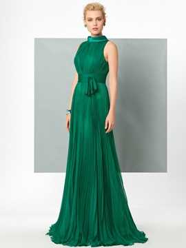 High Neck A-Line Pleats Sashes Evening Dress & Designer Dresses for sale